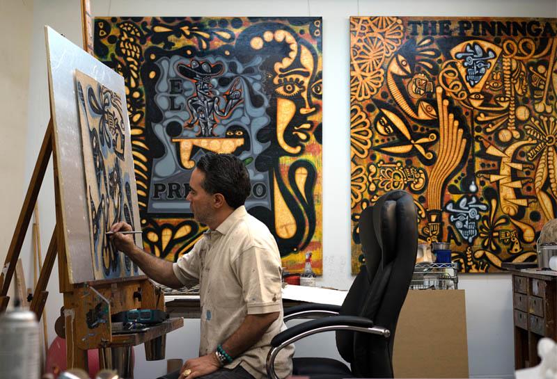 Carlos Luna working at his studio, 2017