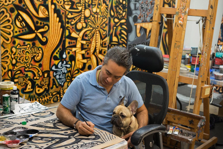 Carlos Luna working with his dog Churro, 2017